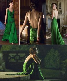 Green dress, by Keira Knightley, in 'Desire and Reparation Dress Outfits, Dress Up, Fashion Outfits, Atonement Dress, Pretty Dresses, Beautiful Dresses, Mode Chic, Satin Dresses, Dream Dress