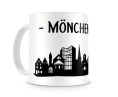Tasse Mönchengladbach Skyline. Eine Tasse bedruckt mit der Skyline von Mönchengladbach