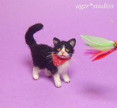 OOAK 1:12 Dollhouse Miniature Cat Kitten & Toy Furred Kitty Handmade Realistic