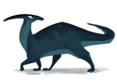 Tumblr. Daily Cat Drawings 415: Parasaurolophus (Dino Week, day 6)  As promised, finishing up dino week from a while ago. Just one more and I'll be back to daily cats :)