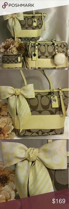 """💛💐🎉Coach Signature Stripe Handbag Set💐🎉💛 🎀Coach Signature Stripe Handbag Set🎀 ☆Genuine double strap patent leather handles. ☆Zippered top closure with leather pull tab.  ☆Inside large zippered pocket and cellphone  multi- function slip pockets.  ☆In like new condition!  ☆Tan fabric lining that's spotless! ☆Matching wristlet included. ☆Approximately:14""""L x10""""H x 3""""D & 9"""" Strap drop.  ☆Fur Pom Pom Included as a free gift.  Bundle to save even more! COACH Jewelry Brooches"""