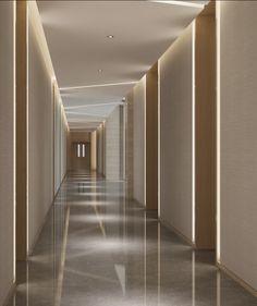 Wuhan Office 9 - Flight, Travel Destinations and Travel Ideas Hotel Hallway, Hotel Corridor, Wuhan, Clinic Interior Design, Clinic Design, Corridor Lighting, Flur Design, Hospital Design, Hallway Designs