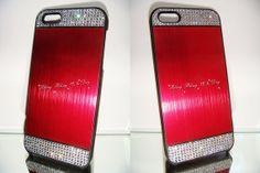 Swarovski crystal RED Brushed Aluminium Hard by blingstuffshop, $23.00