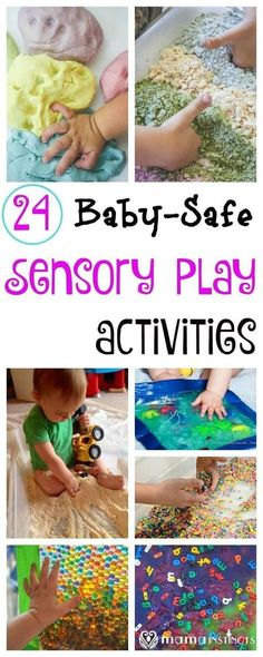 28 Baby-Safe and Toddler Approved Sensory Play Activities Try these fun and educational sensory play activities with your baby and toddler. They are taste-safe and don't pose a choking hazard, and fun enough for the older kids to join in the fun. Baby Sensory Play, Baby Play, Baby Toys, Sensory Bins, Baby Sensory Bags, Fun Baby, Baby Messy Play Ideas, Sensory Games, Sensory Play For Toddlers