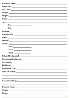 Anime Character Profile Template  Character Profile Sheet Blank