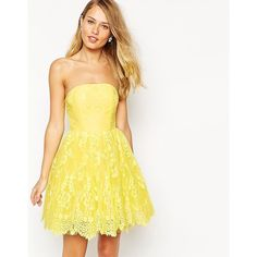 Ginger Fizz Florentine Lace Bandeau Prom Dress ($32) ❤ liked on Polyvore featuring dresses, yellow, prom dresses, yellow dress, lace cocktail dress, white colour dress and white lace cocktail dress