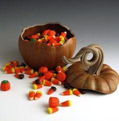 Pumpkin Jar, Handmade, Pottery, Stoneware, John Bauman, on Etsy, $48.00