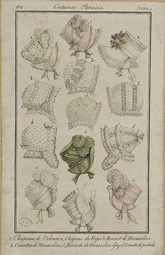 1812, Costumes Parisiens. 1. Hats of velvet. 2. Hat of silk. 3. Cap of muslin. 4. Caps of muslin. 5. Caps of muslin-gauze. 6. Cap of cotton.