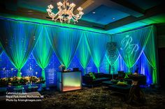 Green uplighting, laser-cut patterns and lounge furniture transform a ballroom at the Royal Park Hotel in Rochester, MI