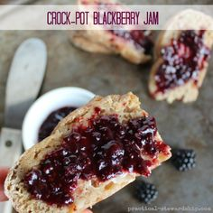 Crock-pot Blackberry Jam Naturally Thickened with Chia Seed, and Reduced Sugar