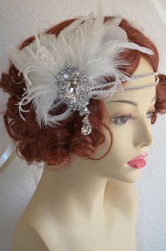 1920s wedding, Gatsby party, Art deco wedding, Ivory gown, Ivory wedding dress. Headpiece is made with ivory feathers and stunning double row headband, with detachable fascinator. Gatsby Wedding, Art Deco Wedding, Ivory Wedding, Wedding Dress, Gatsby Headpiece, Gatsby Headband, Gatsby Party, 1920s Party, Gatsby Style