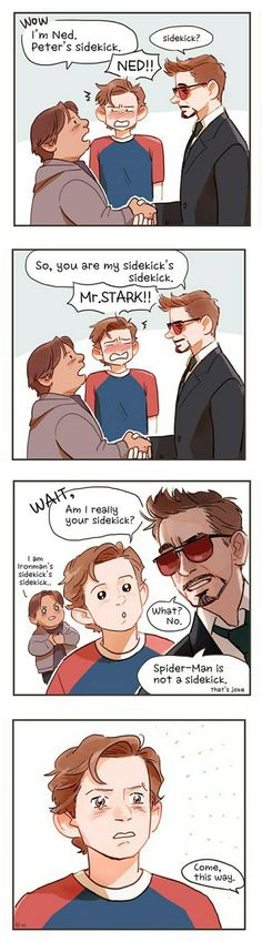Sidekick || Tony, Peter & Ned || Spider-Man Homecoming / Iron-Man || Cr: hallpen