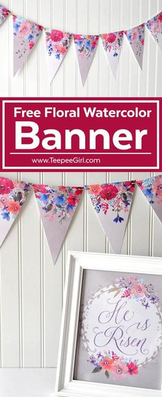 This free watercolor floral banner is perfect for your mantle, mirror, or anywhere you want to add some color to your home decor! Get it at www.TeepeeGirl.com!