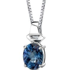 Exquisite Glamour: Sterling Silver Rhodium Finish Oval Shape Checkerboard Cut Alexandrite Pendant with 18 inch Silver Necklace -