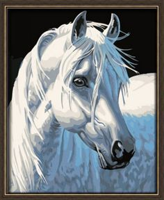 2015 New Acrylic paint by number 16*20 kit White Horse DIY PBN | Crafts, Art Supplies, Painting Supplies | eBay!