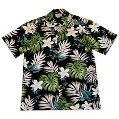Amazon Black Hawaiian Cotton Aloha Sport Shirt