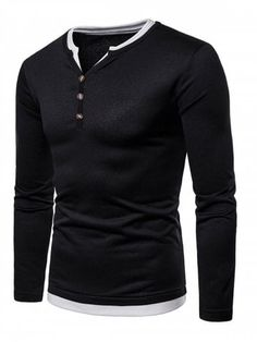 fc3b1174266 Fleece Half Button Long Sleeves T-shirt - BLACK - XL Mens Sweatshirts