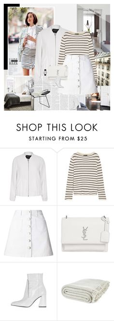 """Stripes and White"" by rainie-minnie ❤ liked on Polyvore featuring Gothenburg London, River Island, The Row, Miss Selfridge, Yves Saint Laurent, Topshop, Laura Ashley and Rosendahl"