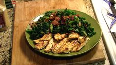 Almond Grilled Chicken with Turkeybacon Kale by TheDashDiet, via Flickr