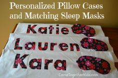 Slumber Party Favors - personalized pillow cases and sleep masks. May have to do it if I have time for Emilie's bday party Sleepover Party Favors, Girl Sleepover, Spa Party, Slumber Parties, Neon Party, Pijamas Party Ideas, Spa Birthday, Birthday Ideas, 11th Birthday