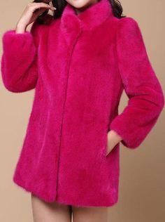 Helan Damen Einfaches Design Mode faux nerz pelz mantel Rosenrot EU 40/42