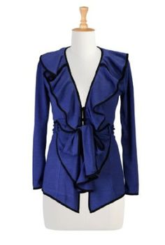 eShakti Women's Ruffled knit sweater 1X-16W Regular Royal blue/black eShakti. $79.95