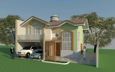 2-storey house floor plan and perspective