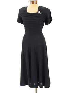40s Black Crepe Pintuck Pleat Cocktail Dress