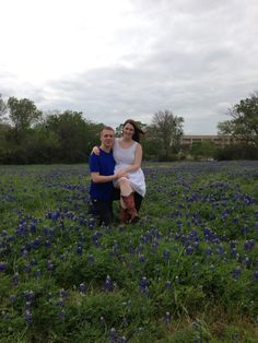Allyson Bell -- Andrew and my bluebonnet photo! Entered into the Star Telegram bluebonnet picture contest! Picture taken at the George Bush Presidential Library in College Station, TX.