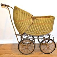 Antique Victorian Wicker Baby Stroller Doll Buggy Carriage