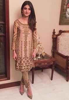 pastel pink bronze gold pakistani straight pajami suit w mid length blouse heavy work