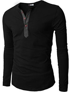 H2H Mens Casual Slim Fit Basic Henley Long Sleeve T-shirt