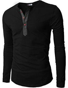 H2H Mens Casual Slim Fit Basic Henley Long Sleeve T-shirt