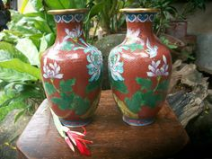 1960s Chinese Red Twin Jar Cloisonne Floral And Bird Design