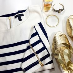 J. Crew Striped Ponte Sweatshirt Details: • Size XL • White with navy stripes • Gold zipper details at back of neck and wrists  • NWT   03031612 J. Crew Tops Sweatshirts & Hoodies