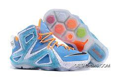 1b4754c78623e Lebron 12 P.S Elite Orange Blue White Shoes TopDeals