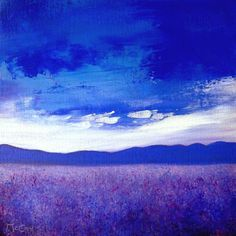 ARTFINDER: Lavender Field by Kirstin McCoy - This painting on canvas captures lavender fields of Provence with  the mountains in the background and the Mistral Wind blowing the clouds above.  The colo...