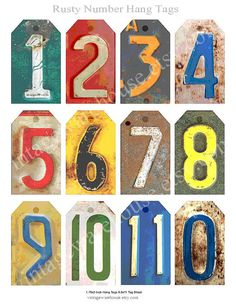 VINTAGE RUSTY NUMBERS Digital Tags Collage by vintagewarehouse, $2.00