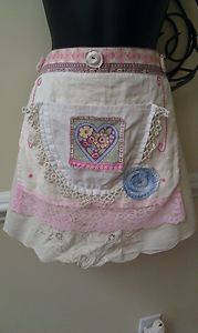 sold - but we can still enjoy looking at it - $9.50  Shabby chic apron, made with scrap fabric & vintage linens