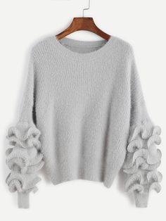 To find out about the Grey Drop Shoulder Ruffle Trim Fuzzy Sweater at SHEIN, part of our latest Sweaters ready to shop online today! Pullover Mode, Pullover Sweaters, Loose Sweater, Long Sleeve Sweater, Gray Sweater, Sweater Fashion, Sweater Outfits, Mode Crochet, Trendy Outfits