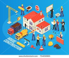 Stock Vector: Isometric building background with figures of housebuilder workers and engineers transport construction materials and ready house vector illustration