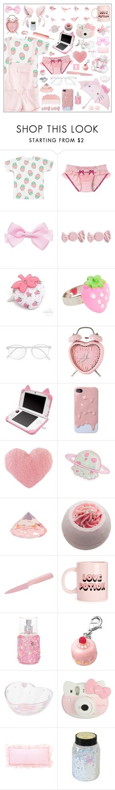 """.: STRAWBERRIES AND CREAM :."" by yumoto-hakone ❤ liked on Polyvore featuring Marc by Marc Jacobs, Cuteberry, RetroSuperFuture, Cotton Candy, Kuhn Rikon, claire's, Hello Kitty, Puella, Pink and kawaii"