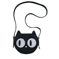 Genuine leather Black Cat bag with cute eyes and a snap button nose.  Brass metal details.    Colour: Black