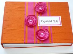 Wedding Guest Book Orange and Fuchsia custome made by ModernShabby, $45.00....FOUND IT!!! This is what I want!