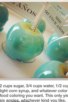 Stefi, this would be cool for your baby shower if u r having a boy!Tiffany blue candy apples with blinged out sticks Bleu Tiffany, Tiffany Theme, Tiffany Party, Tiffany Wedding, Tiffany And Co, Candy Table, Candy Buffet, Baby Shower, Bridal Shower