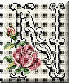 Monogram letter N cross stitch. Cross Stitch Letters, Cute Cross Stitch, Cross Stitch Charts, Cross Stitching, Cross Stitch Embroidery, Hand Embroidery, Plastic Canvas Letters, Stitch Book, Tapestry Crochet