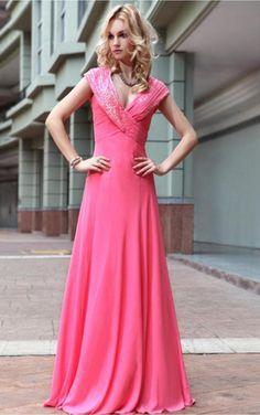 Elegant Pink Sheath Floor-length V-neck Dress [Dresses 10044] - $216.00 :