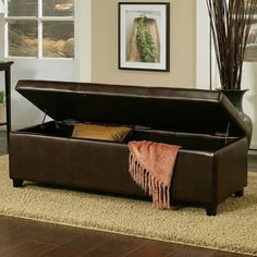 Leather Storage Ottoman   Dark Brown | Jet.com