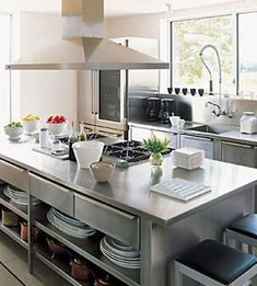New Kitchen Shelves Steel Counter Tops Ideas Stainless Steel Kitchen Cabinets, White Kitchen Cabinets, Kitchen Cabinet Design, Kitchen Shelves, Kitchen Countertops, Stainless Steel Island, Stainless Steel Countertops, Kitchen Backsplash, Stainless Steel Shelving