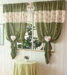 Beautiful kitchen curtains Window Valance 25 Creative Ideas For Modern Decor With Beautiful Kitchen Curtains Cute Curtains, Curtains And Draperies, Beautiful Curtains, Country Curtains, Green Curtains, Vintage Curtains, Valances, Modern Kitchen Curtains, Shabby Chic Kitchen